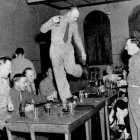 American soldier dancing on a table