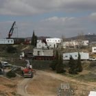 Caravans being transported out of Amona. Feb. 6, 2017