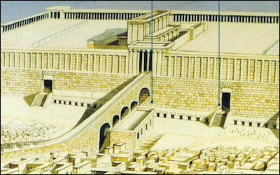 An artist's reconstruction shows where today's Western Wall (the area between the two dark vertical lines) lies in relation to the temple complex of antiquity. For centuries, it was the upper portion, the Temple Mount, where Jews made their pilgrimages and prayers, even when it lay in ruins.