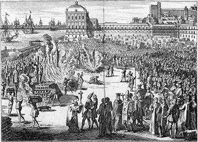 Burning of the heretics sentenced in Spanish Inquisition