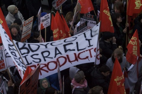 Pro-Palestinian Authority BDS rally in London (Jan 2009)