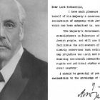 Lord Balfour pictured next to the declaration bearing his name