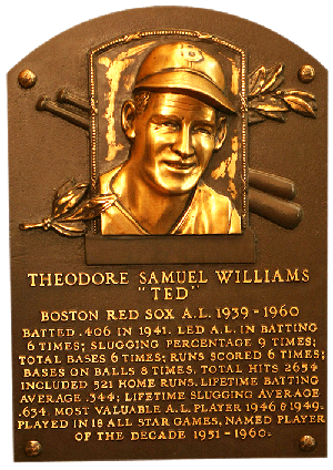 Ted Williams's Hall of Fame plaque in Cooperstown.