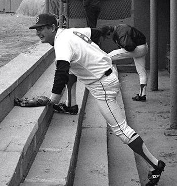 Carl Yastrzemski on the dugout steps at Boston's Fenway Park.