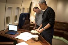 Ben Rhodes and President Obama on board Air Force One