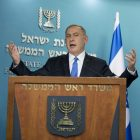 Prime Minister Benjamin Netanyahu delivers a statement to the press in response to US Secretary of State, John Kerry's attack on the Israeli government