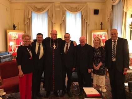 COGAT Major-General Yoav (Poly) Mordechai meets with New York Archbishop, Cardinal Timothy Dolan.