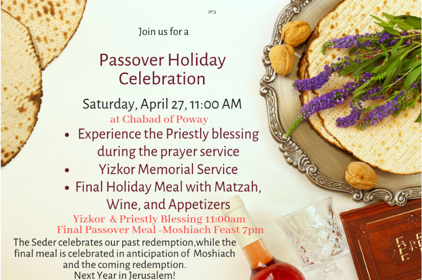 Chabad of Poway Passover invitation