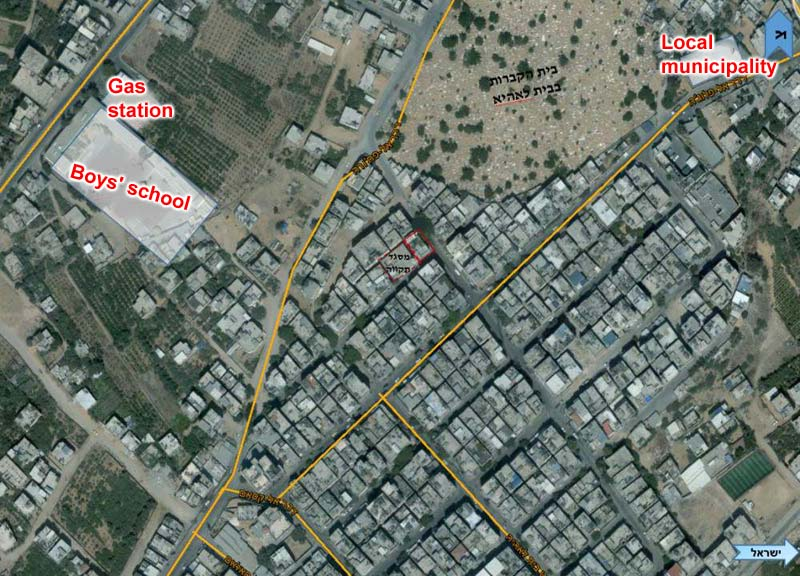 Civilian structures that are connected to terror tunnels (marked in yellow) / Photo credit: IDF Spokesperson's Office