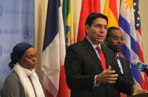 Israel's Ambassador to the UN, Danny Danon, with Agarnesh and Ilan Gashao Mengistu, the mother and brother of Avre Mengistu at the UN Nov. 20 2017