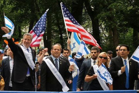 New York City Mayor Bill De Blasio is joined by Jerusalem Mayor Nir Barkat at the 2017 Celebrate Israel Parade.