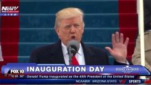 Donald Trump giving his inauguration speech