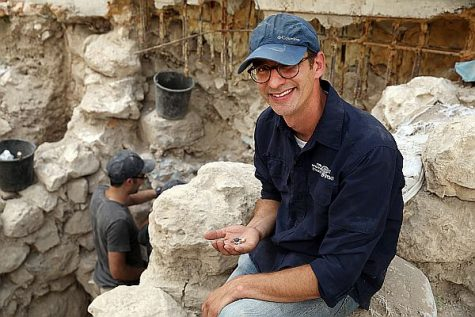 Dr. Joe Uziel, Israel Antiquities Authority excavation director, with seals discovered in City of David, Sept. 4, 2017