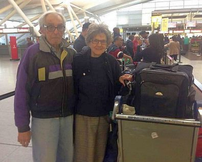 """Victor and Nelda Rousso say the El Al staff were """"very helpful"""" in getting them through customs at JFK."""