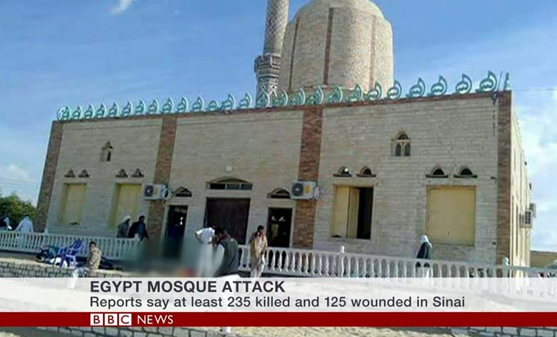 Egypt Sinai: Bomb and gun attack on mosque