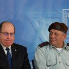 "Israeli defense Minister Moshe ""Boogie"" Ya'alon seen with incoming IDF chief of staff Gadi Eizenkot"