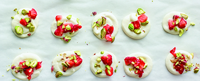 Frozen Yogurt Dots with Pistachios and Strawberries + Justin Chapple + A160328 Food & Wine + Mad Genius Tips Book 2016