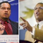 ongressman Keith Ellison's (left) sordid past associations with Louis Farrakhan (right) -- the long time leader of the Nation of Islam -- will hurt him in Middle America, which has little appetite for Farrakhan's anti-American ravings.