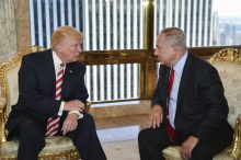 President-elect Donald Trump, during election campaign, meeting with Israel's Prime Minister Benjamin Netanyahu.