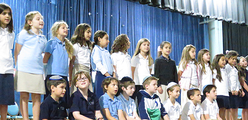 Students perform in Hebrew Academy Thanksgiving play.