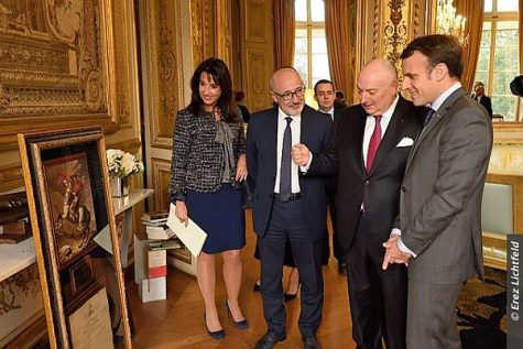 French President Emmanuel Macron, with EJC President Dr. Moshe Kantor, CRIF President Francis Kalifat and EJC Executive Vice President Raya Kalenova at the Élysée Palace.