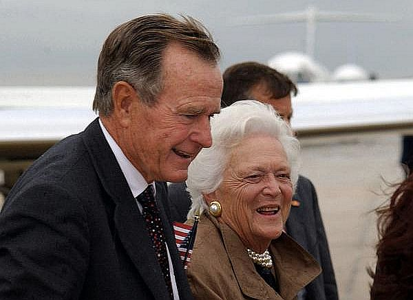 Former US President George HW Bush and First Lady Barbara Bush