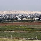 Gaza City seen in the background near the border between Israel and Gaza.
