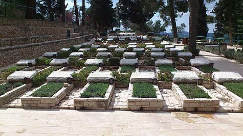 Graves of the Convoy of 35 on Mount Herzl.