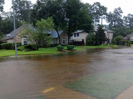 A street in the Regency Forest neighborhood of Houston was under water by Monday, August 28 2017 during Tropical Storm Harvey.