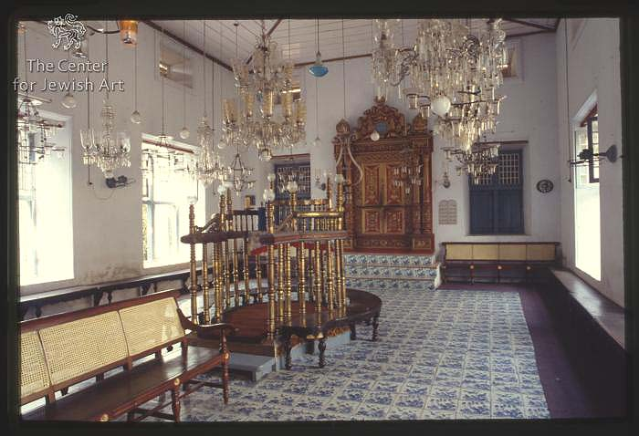 Interior, Paradessi Synagogue of White Cochin Jews in Cochin,Kochi (Cochin) / Photo credit: Center for Jewish Art / Hebrew University