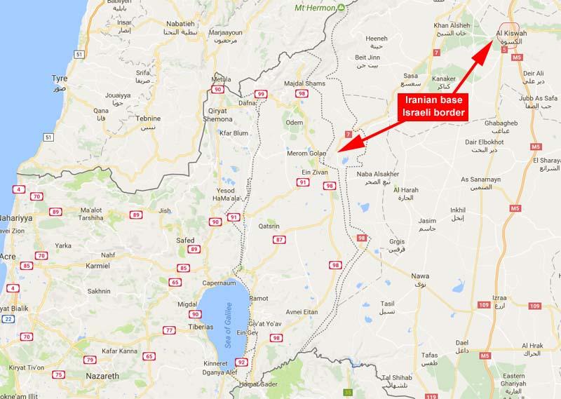 Base iraní cerca de la frontera de Israel / Fuente: Google Maps