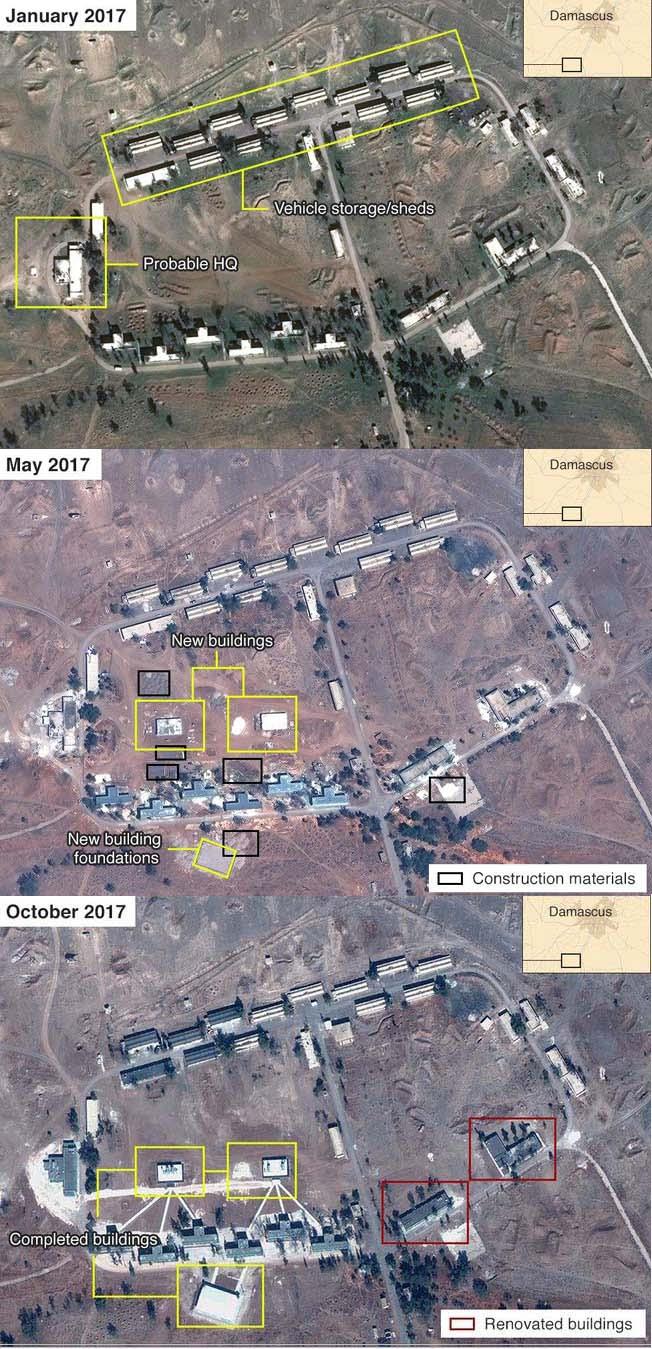 La base de Irán en el sur de Siria ha crecido considerablemente en 10 meses / Crédito de la foto: capturas de pantalla combinadas