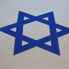 A closeup of a flag of Israel