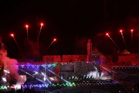 The Old City of Jerusalem ablaze in the glow of fireworks as a week of celebrations kicks off to mark a half century of reunification of the eternal capital of Israel and the Jewish People.