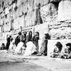 Jewish worshipers at the Western Wall in the 1870s.