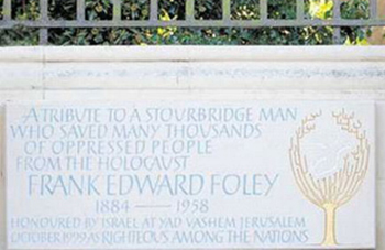 The Frank Foley memorial plaque in Stourbridge
