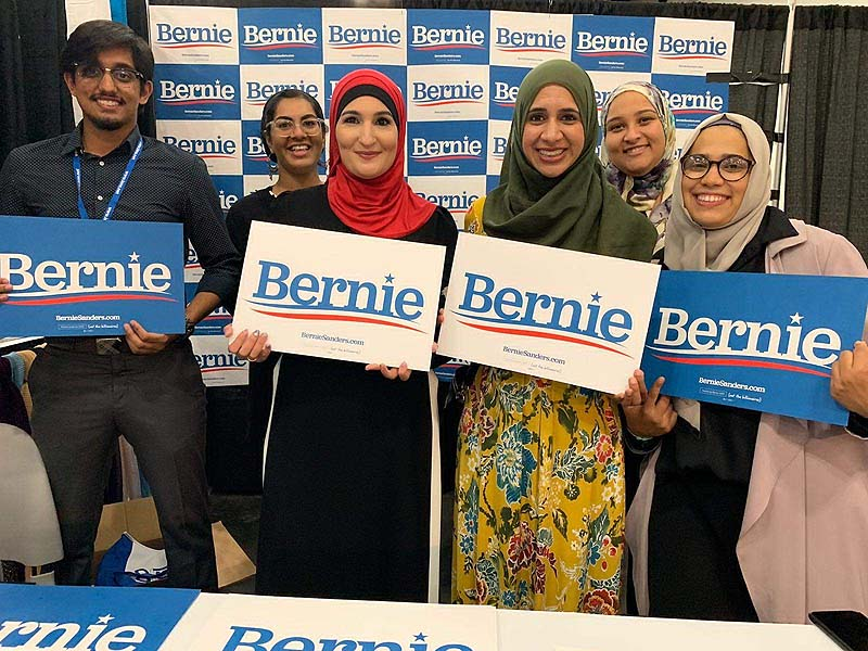 Image result for bernie sanders with linda sarsour