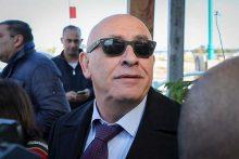 MK Basel Ghattas arrives at the Israel Police Lahav 433 investigation unit in Lod, December 20, 2016.