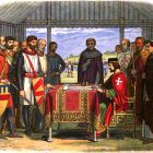 A 19th-century recreation of King John signing the Magna Carta