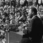 Dr. Martin Luther King addressing college students