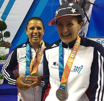 Silver Medalists Rebecca Obtsfeld (right) and Aliza Abramson (just behind her).