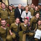 Sofa Landver, Minister of Immigrant Absorption and Rabbi Yehoshua Fass, Co-Founder and Executive Director of Nefesh B'Nefesh with Lone Soldiers at Yom Siddurim