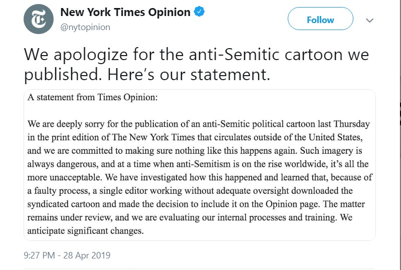New York Times blames 'single editor' for anti-Semitic cartoon in new statement