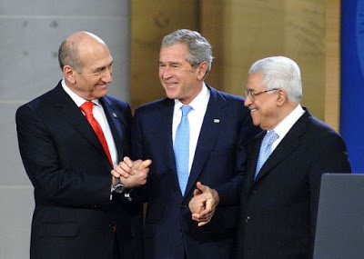 Olmert, Abbas and Bush at the opening of the Annapolis talks