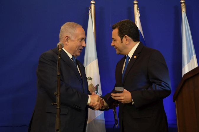 Prime Minister Benjamin Netanyahu with President of Guatemala Jimmy Morales Cabrera at the King David Hotel in Jerusalem