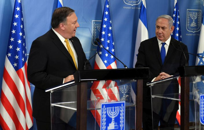 U.S. Secy of State Mike Pompeo and Prime Minister Benjamin Netanyahu at joint news conference at Defense Ministry in Tel Aviv April 29 2018