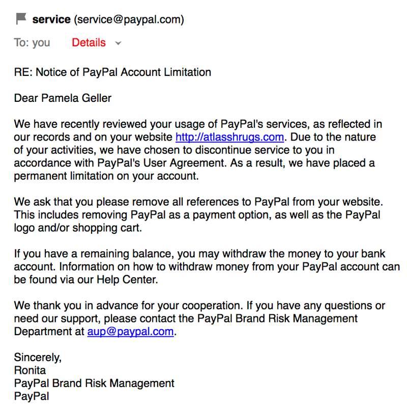 Paypal's letter to Pamela Geller