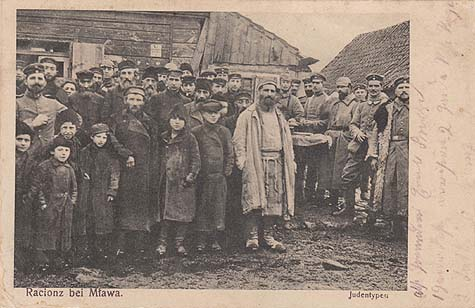 People of the Jewish shtetl Racionz, near the more densely populated Mława. Message dated June 23, 1915.