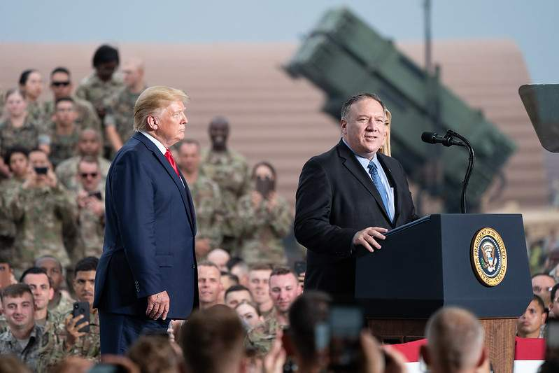 President Trump and Secretary of State Mike Pompeo at Osan Air Base Korea
