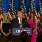 President elect Trump at podium; his daughter Ivanka and her husband Jared Kushner to his left